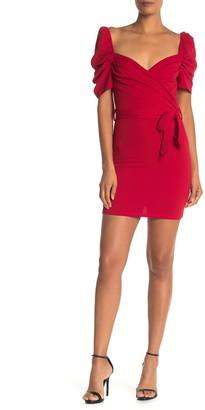 Max & Ash Wrap Puff Sleeve Dress