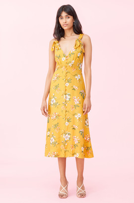 Rebecca Taylor Lita Floral Silk Twill Bow Dress