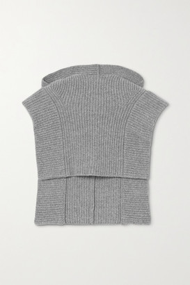 Isabel Marant Palmer Ribbed Cashmere And Wool-blend Hood - Gray