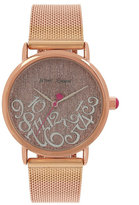 Betsey Johnson All Mixed Up Rose Gold Mesh Watch