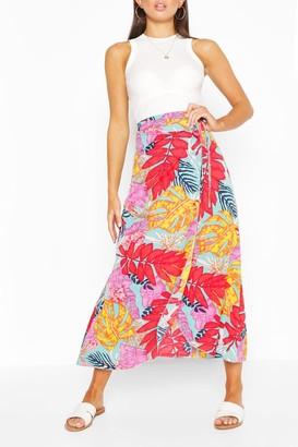boohoo Bright Tropical Print Woven Maxi Skirt