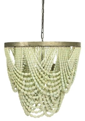"MistanaTM Hatfield 3 - Light Unique Tiered Chandelier with Beaded Accent Mistana Finish: Green, Size: 20.5"" H x 25.5"" W x 25.5"" D"