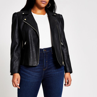River Island Plus black faux leather puff sleeve jacket