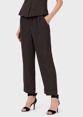 Emporio Armani Cuffed, Drawstring Palazzo Trousers With Jacquard Micro-Plaid Motif