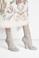 Fendi Embroidered Boot Heels
