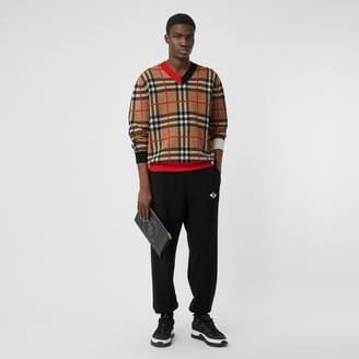 Burberry Check Merino Wool Jacquard V-neck Sweater