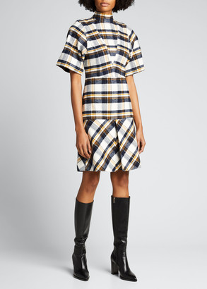 Victoria Beckham Plaid Short-Sleeve Drop-Waist Dress