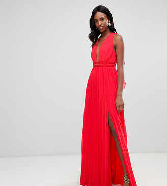 Asos Tall DESIGN Tall maxi dress in pleat with tape detail-Multi