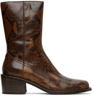 Dries Van Noten Brown Snake Zip-Up Boots