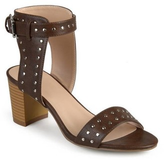 Brinley Co. Womens Faux Leather Studded Ankle Strap High Heel