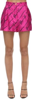 Versace Stretch Gabardine High Waist Shorts