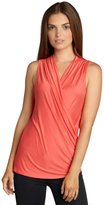 Loveappella coral jersey knit surplice v-neck shirred side top