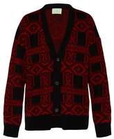 Aries - Bandana Jacquard Mohair Blend Cardigan - Mens - Black Red