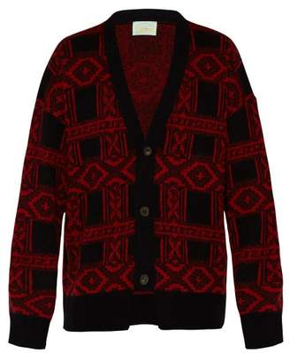 Aries Bandana-jacquard Mohair-blend Cardigan - Mens - Black Red