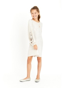 Bonnie Jean Big Girls Gold-Tone Sweater Knit Shift Dress with Necklace