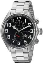 Akribos XXIV Men's AK853SSB Round Black Dial Chronograph Quartz Movement Stainless steel Bracelet Watch