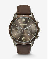 Express brown leather strap multi-function whittier watch