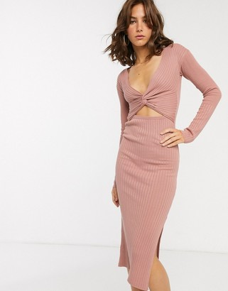 Asos DESIGN knot front cut out knitted midi dress