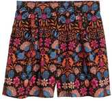 H&M Wide-cut Shorts - Black floral - Ladies