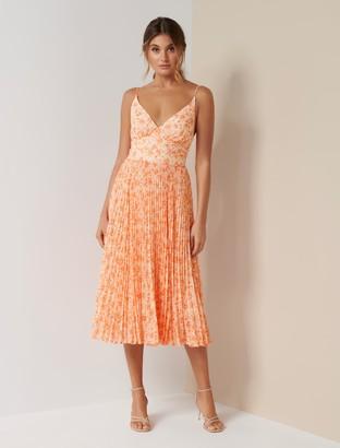Forever New Marley Pleated Midi Dress - Apricot Harvest Botanical - 6