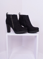 Missy Empire Octavia Black Suede Heeled Ankle Boots
