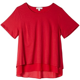 MICHAEL Michael Kors Size Back Cutout Short Sleeve Top (Scarlet) Women's Clothing