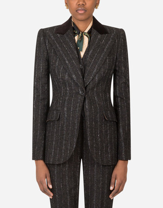 Dolce & Gabbana Single-Breasted Jacket In Pinstripe Wool With Velvet Collar