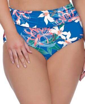 Raisins Curve Trendy Plus Size Summer Bloom Printed High-Waist Bikini Bottoms Women's Swimsuit