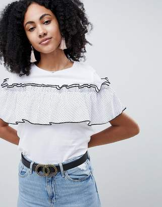 Lost Ink T-Shirt With Sheer Polka Dot Ruffle Layer-White