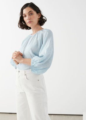And other stories Voluminous Puff Sleeve Crepe Top