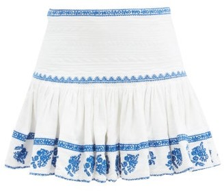 Etoile Isabel Marant Russel Embroidered Cotton-voile Mini Skirt - Blue White
