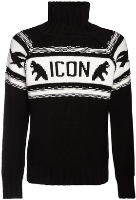 DSQUARED2 Icon Wool Knit Turtleneck Sweater
