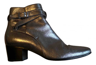 Saint Laurent West Jodhpur Silver Leather Ankle boots