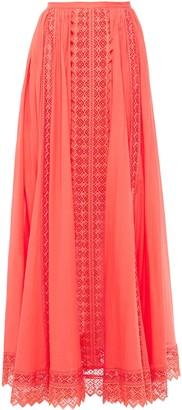 Charo Ruiz Ibiza Gathered Guipure Lace-paneled Cotton-blend Mousseline Maxi Skirt