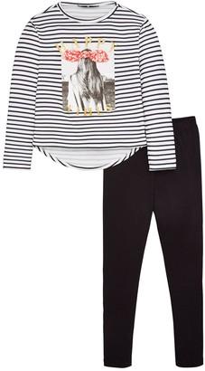 Very Girls Stripe Applique Jersey Top and Leggings Set - Black
