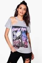 boohoo Mia Guns N Roses Cut Out Shoulder Licence Band Tee grey marl