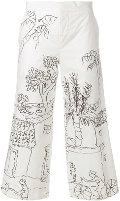 Marni Illustrated Cropped Trousers