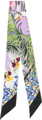 Dolce & Gabbana Maiolica Orchid Print Silk Scarf