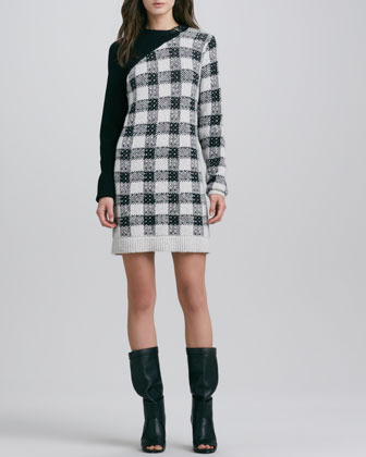 3.1 Phillip Lim Plaid Colorblock Knit Dress