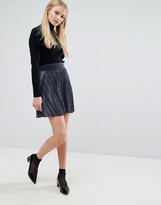Vila Velvet Pleated Mini Skirt