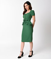 Stop Staring 1940s Style Green Short Sleeve Rosemary Pencil Dress
