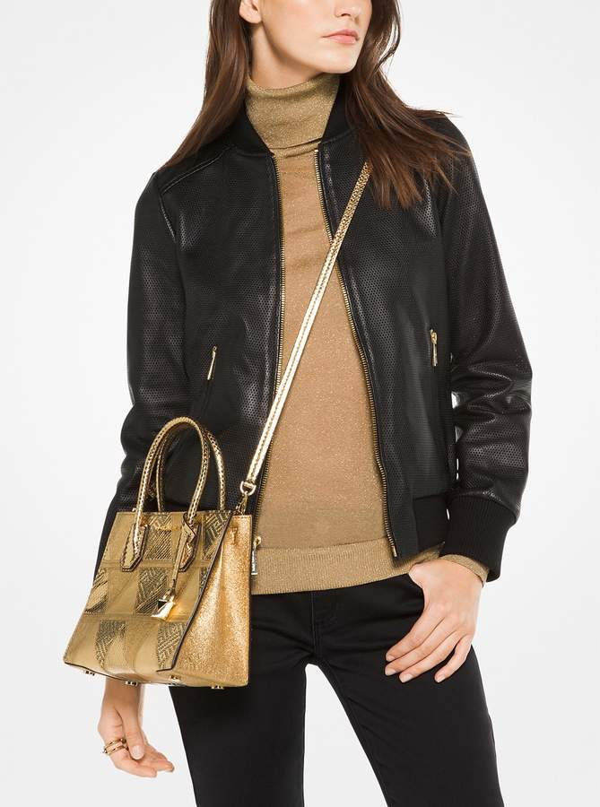 MICHAEL Michael Kors Perforated Leather Bomber Jacket