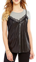 Living Doll Two-Fer Sequin Lace Cami and Tee Top