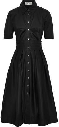 Diane von Furstenberg Claire Pleated Cotton-blend Poplin Midi Shirt Dress
