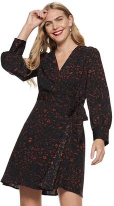 Nine West Women's Long Sleeve Wrap Dress