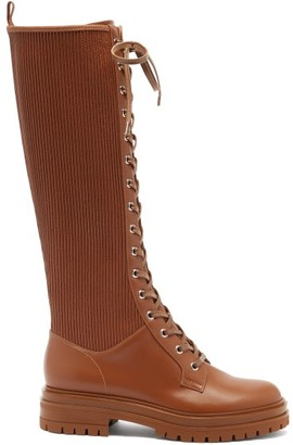 Gianvito Rossi Martis Lace-up Leather Knee-high Boots - Brown