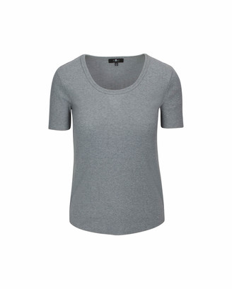 7 For All Mankind U-Neck Tee in Heather Grey