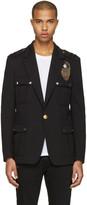 Balmain Black Embroidered Military Blazer