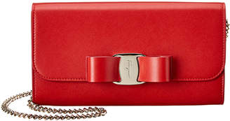Salvatore Ferragamo Vara Bow Leather Wallet On Chain