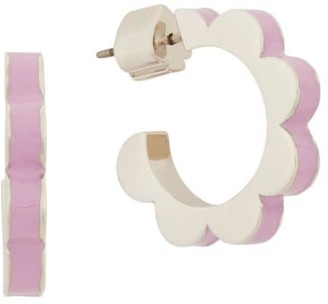Kate Spade Goldtone Floral Scalloped Huggie Hoop Earrings